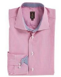 Camisa de vestir a cuadros rosada
