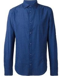 Camisa de vestir a lunares azul de Armani Jeans