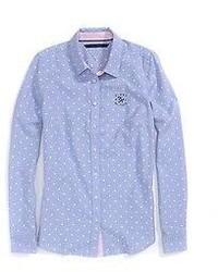 Camisa de vestir a lunares celeste