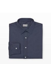 Camisa de vestir a lunares en azul marino y blanco