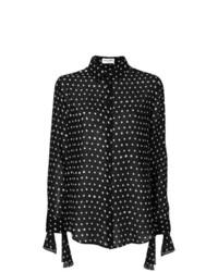 Camisa de vestir a lunares en negro y blanco de Saint Laurent