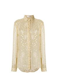Camisa de vestir a lunares marrón claro de Saint Laurent