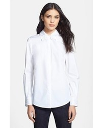 Camisa de vestir bordada blanca
