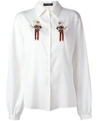 Camisa de vestir bordada blanca de Dolce & Gabbana