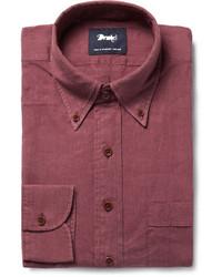 Camisa de vestir burdeos de Drakes