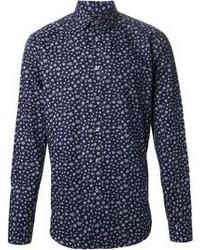 Camisa de vestir con print de flores azul marino