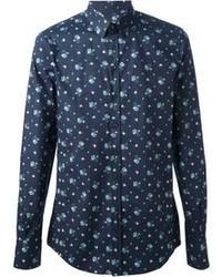 Camisa de Vestir con print de flores Azul Marino de Dolce & Gabbana