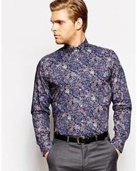 Camisa de Vestir con print de flores Azul Marino de Ted Baker