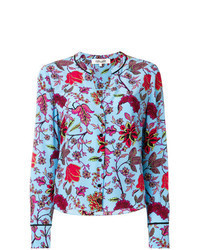 Camisa de vestir con print de flores celeste