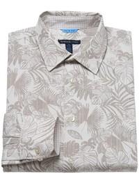 Camisa de vestir con print de flores en beige