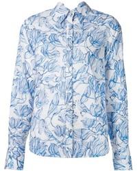 Camisa de vestir con print de flores en blanco y azul