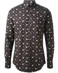 Camisa de vestir con print de flores negra de Dolce & Gabbana