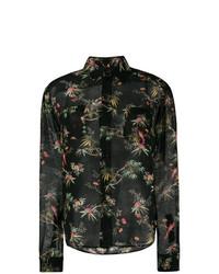 Camisa de vestir con print de flores negra de Saint Laurent