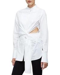 Camisa de vestir con recorte blanca