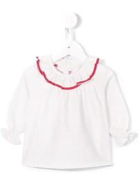 Camisa de vestir con volante blanca