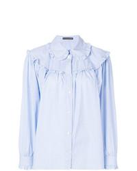 Camisa de vestir con volante celeste de Alexa Chung