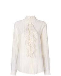 Camisa de vestir con volante en beige de Saint Laurent