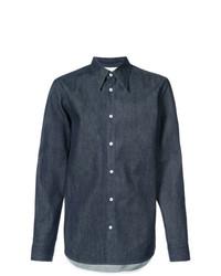 Camisa de vestir de cambray azul marino de Calvin Klein 205W39nyc