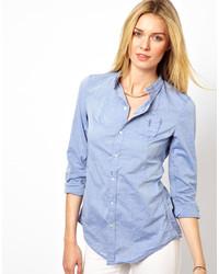 Camisa de vestir de cambray azul