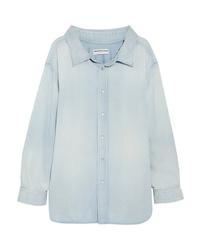 Camisa de vestir de cambray celeste de Balenciaga