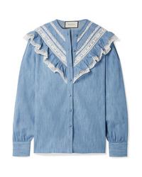 Camisa de vestir de cambray con volante azul de Gucci