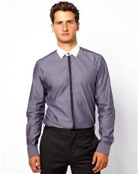 Camisa de vestir de cambray en gris oscuro