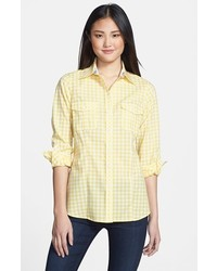 Camisa de vestir de cuadro vichy amarilla