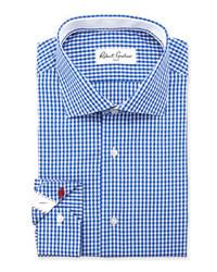 Camisa de vestir de cuadro vichy azul