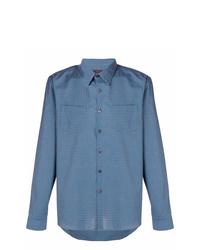 Camisa de vestir de cuadro vichy azul de Prada