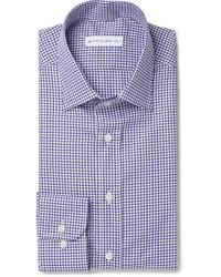 Camisa de vestir de cuadro vichy en azul marino y blanco de Etro