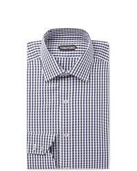 Camisa de vestir de cuadro vichy en azul marino y blanco de Tom Ford