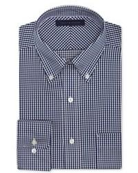 Camisa de Vestir de Cuadro Vichy en Blanco y Azul Marino
