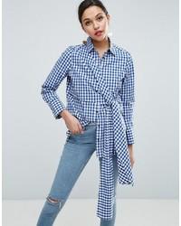 Camisa de Vestir de Cuadro Vichy en Blanco y Azul Marino de Asos