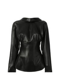 Camisa de vestir de cuero negra de Ermanno Scervino