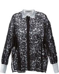 Camisa de vestir de encaje en negro y blanco de Valentino