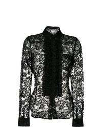 Camisa de vestir de encaje negra de Comme des Garcons
