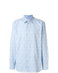Camisa de vestir de espiguilla celeste de Brioni