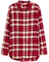 Camisa de vestir de franela a cuadros roja