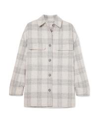 Camisa de vestir de franela de tartán gris de Vince