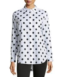 Camisa de vestir de gasa a lunares en blanco y negro