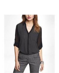 Camisa de vestir de gasa a lunares en negro y blanco