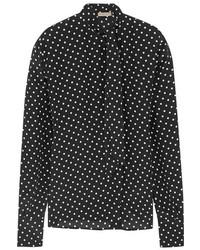 Camisa de vestir de gasa a lunares en negro y blanco de Bottega Veneta
