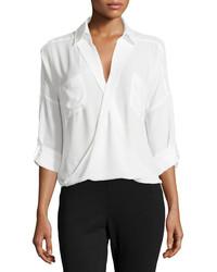 Camisa de vestir de gasa blanca