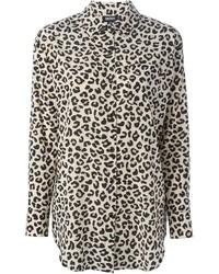 Camisa de vestir de leopardo marrón claro de DKNY