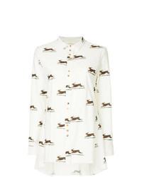 Camisa de vestir de lino estampada blanca