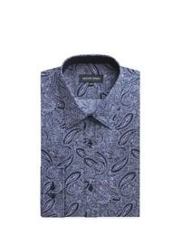 Camisa de vestir de paisley azul marino