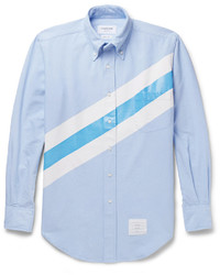 Camisa de vestir de rayas horizontales celeste
