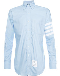 Camisa de vestir de rayas horizontales celeste de Thom Browne