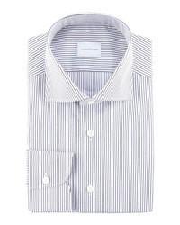 Camisa de vestir de rayas horizontales en blanco y azul marino