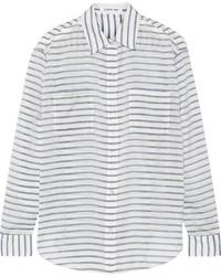 Camisa de Vestir de Rayas Horizontales en Blanco y Negro de Elizabeth and James